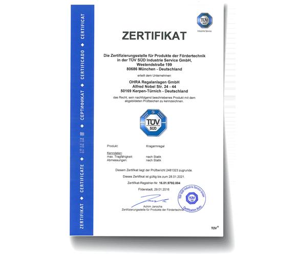 "[Translate ""Czech Republic""] OHRA ist zertifiziert vom TÜV Süd"